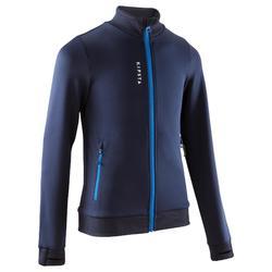 T500 兒童足球訓練運動夾克 - 藍色/黑色