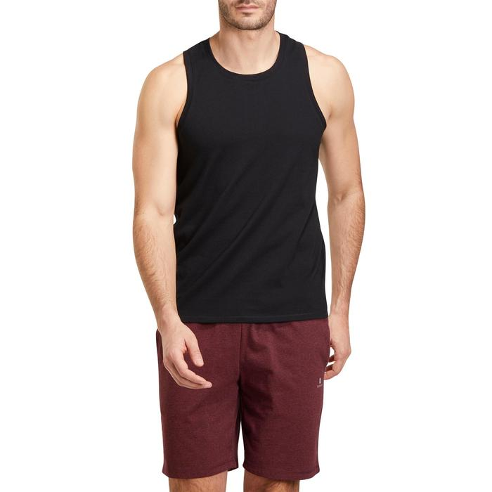 Mouwloos herenshirt 500 voor gym en stretching regular zwart