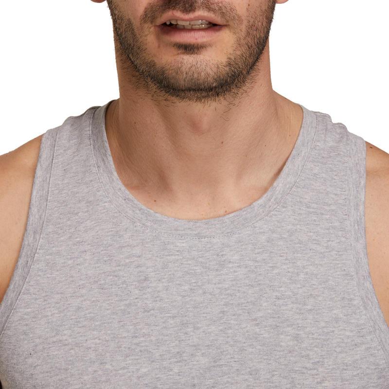 Débardeur 500 regular Gym Stretching homme gris chiné
