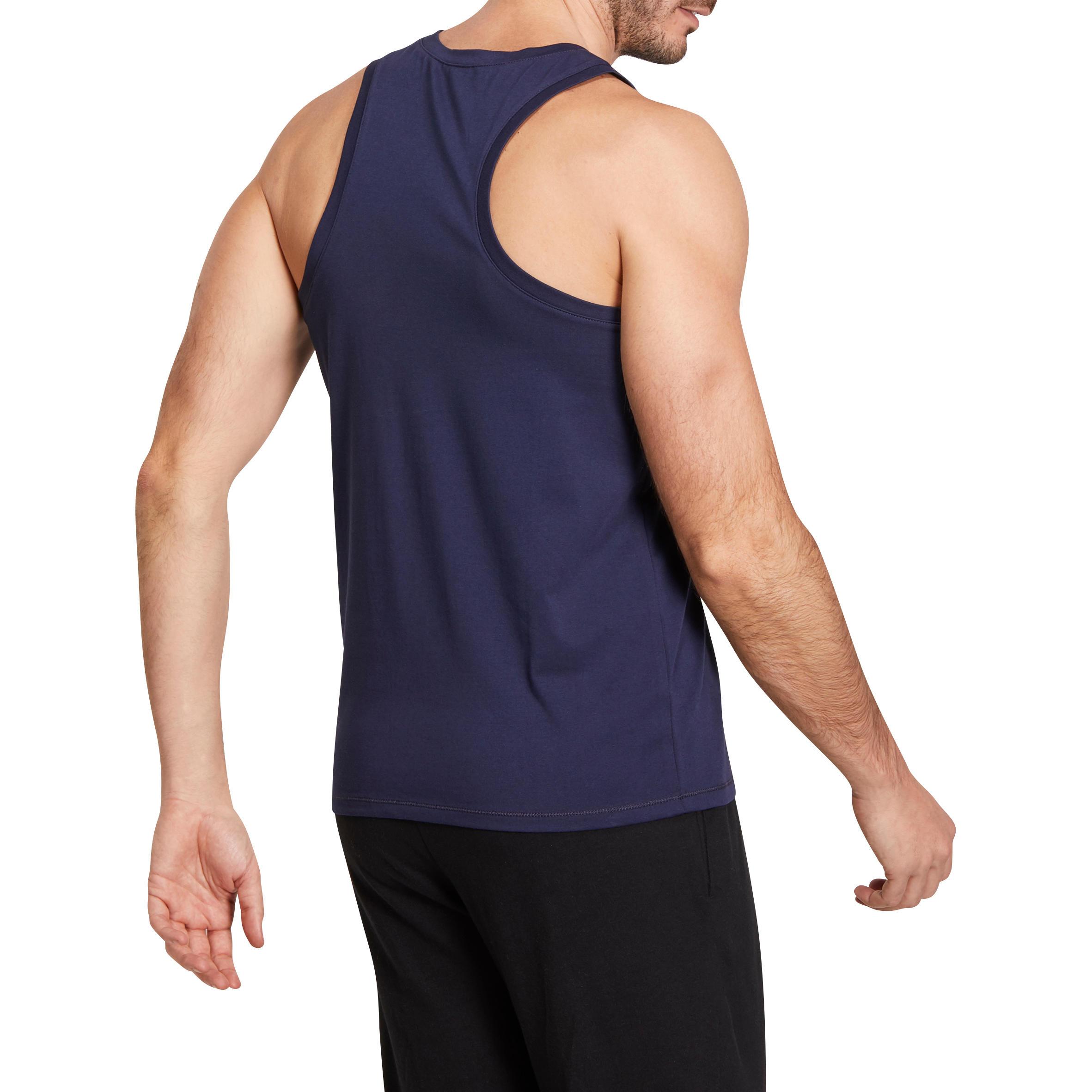 500 Regular-Fit Gentle Gym & Pilates Tank Top - Navy Blue