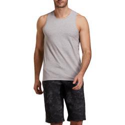 Camiseta sin mangas 500 regular gimnasia stretching hombre gris jaspeado