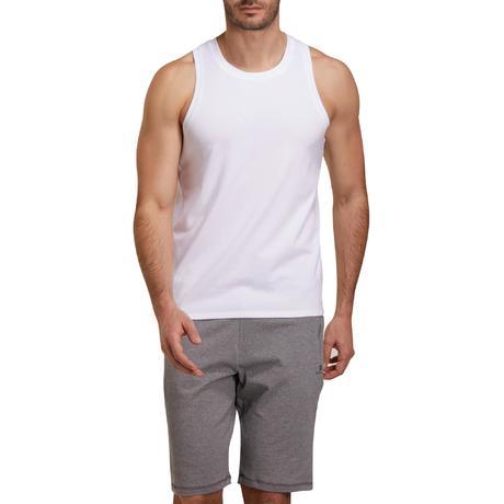 Débardeur 500 regular Pilates Gym douce blanc homme   Domyos by ... 468cd11e22f9
