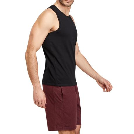 Débardeur 500 regular Pilates Gym douce noir homme   Domyos by Decathlon 55e2a8452a46