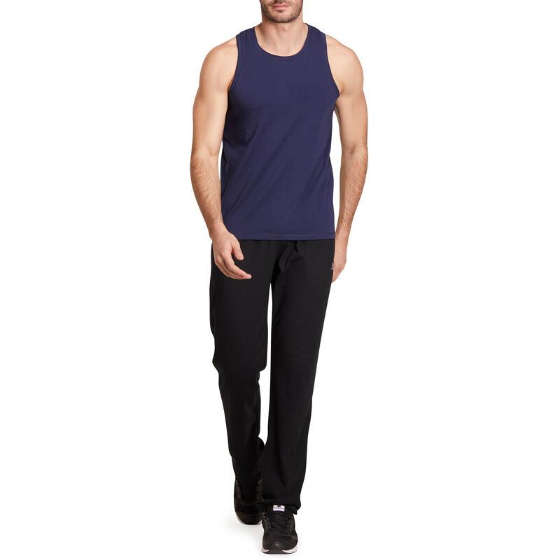 Camiseta sin mangas 500 regular Pilates y Gimnasia suave hombre azul marino   1bc61229ed1e9