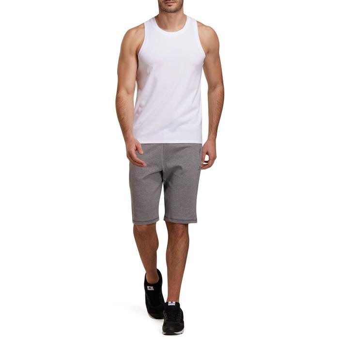 Camiseta sin mangas 500 regular Pilates y Gimnasia suave blanco hombre