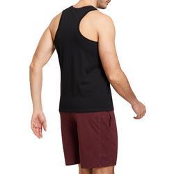 Mouwloos shirt voor pilates/lichte gym heren 500 zwart