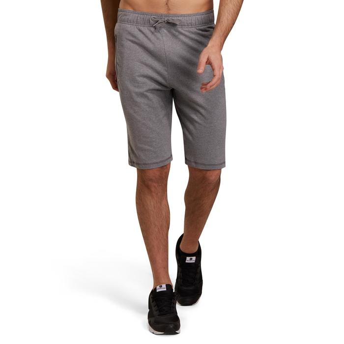 Knielange herenshort voor gym en pilates, slim fit, grijs