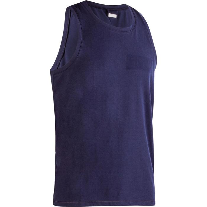 Camiseta sin mangas 500 de Pilates y Gimnasia suave hombre azul marino