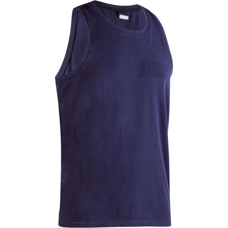 MAN GYM, PILATES APPAREL Activewear - 500 Gym Tank Top - Navy Blue NYAMBA - Men