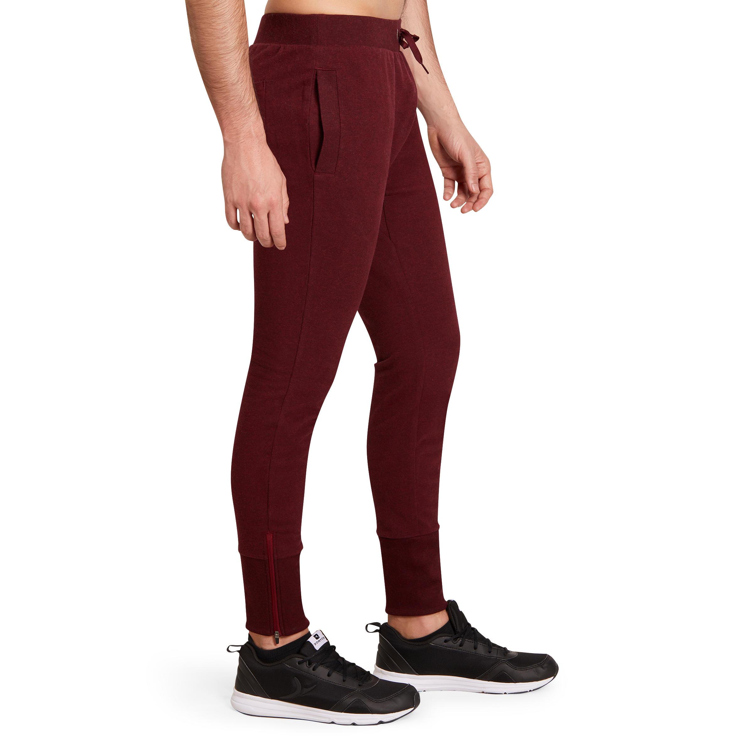 Skinny-Fit Gym & Pilates Bottoms - Burgundy