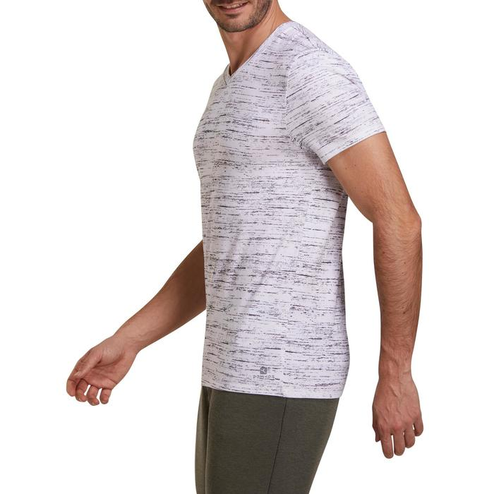 T-shirt 500 V-hals slim fit pilates en lichte gym heren wit AOP