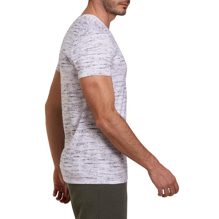 T-Shirt Gym 500 Slim V-Ausschnitt Herren Fitness weißmeliert/schwarz