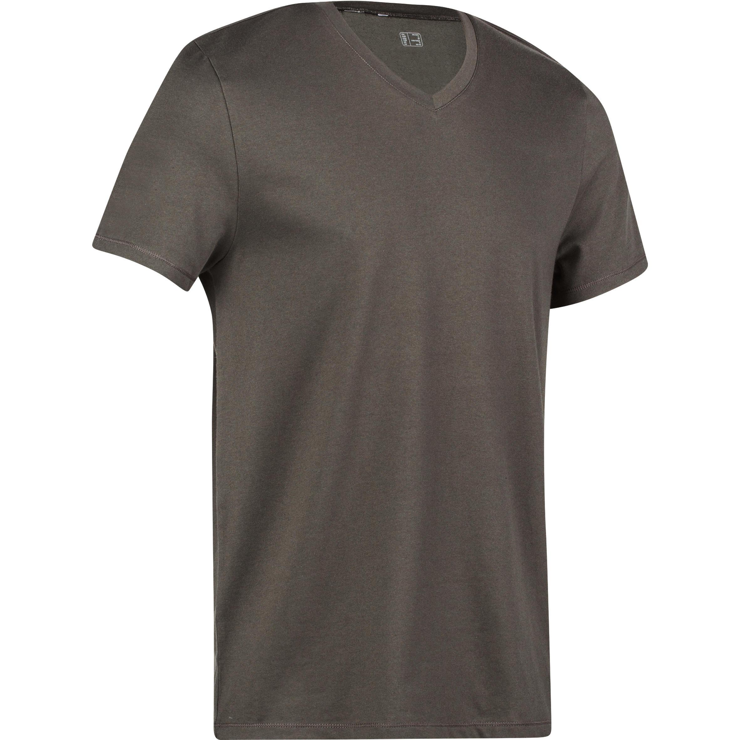 Domyos Heren T-shirt 500 Gym & Pilates slim V hals