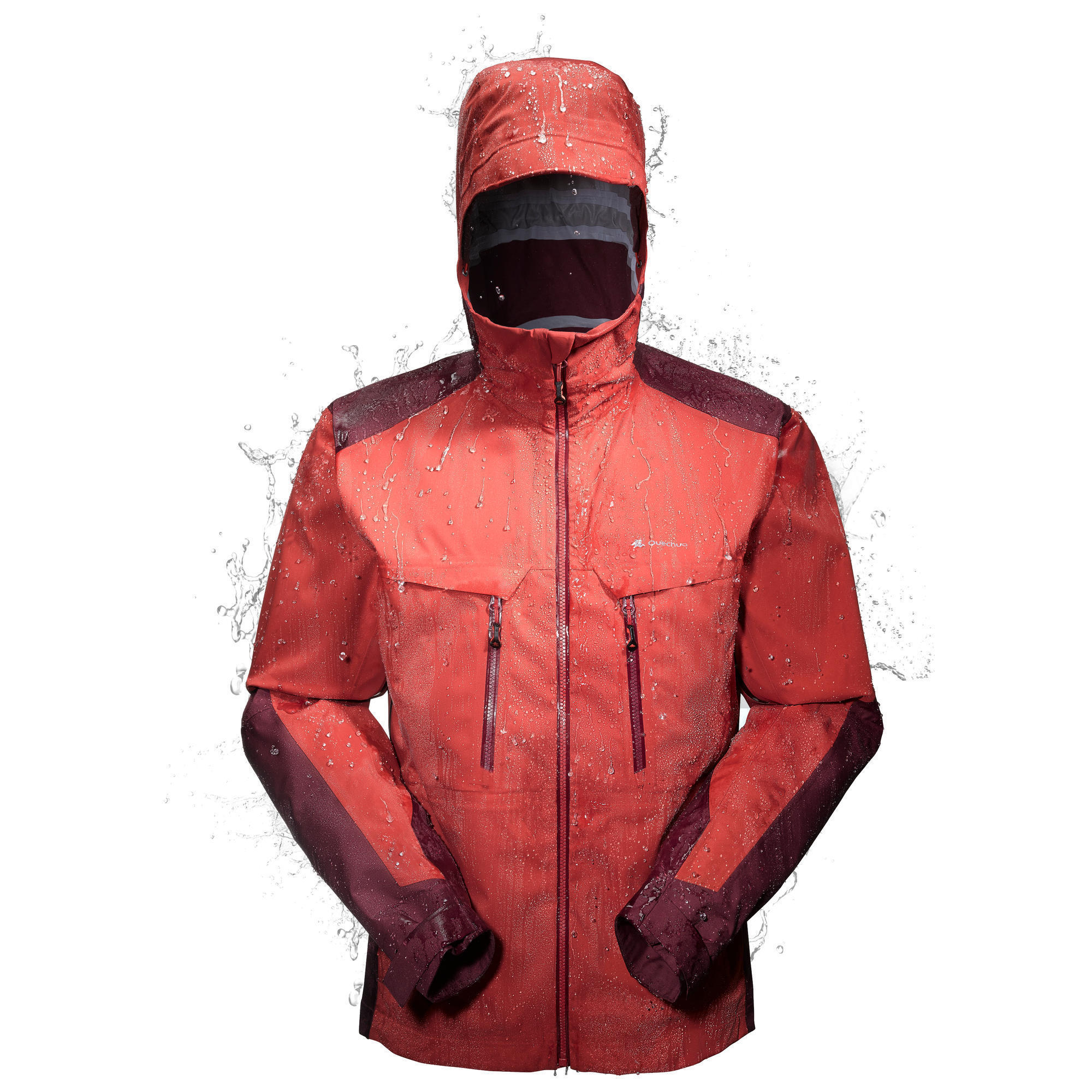 veste pluie imperm able randonn e montagne homme forclaz 900 rouge quechua. Black Bedroom Furniture Sets. Home Design Ideas