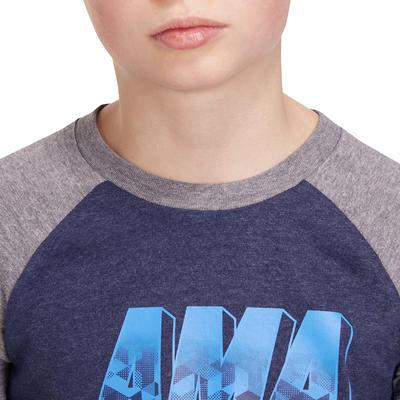 تيشيرت رياضي 500 بأكمام طويلة للأولاد - أزرق داكن