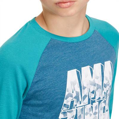 T-Shirt 500 manches longues Gym garçon imprimé bleu pétrole