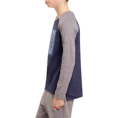 500 Boys' Long-Sleeved Gym T-Shirt - Navy Blue Print