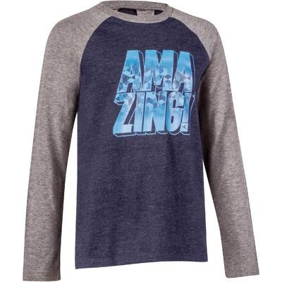 500 Boys' Long-Sleeved Gym T-Shirt - Navy Blue Print