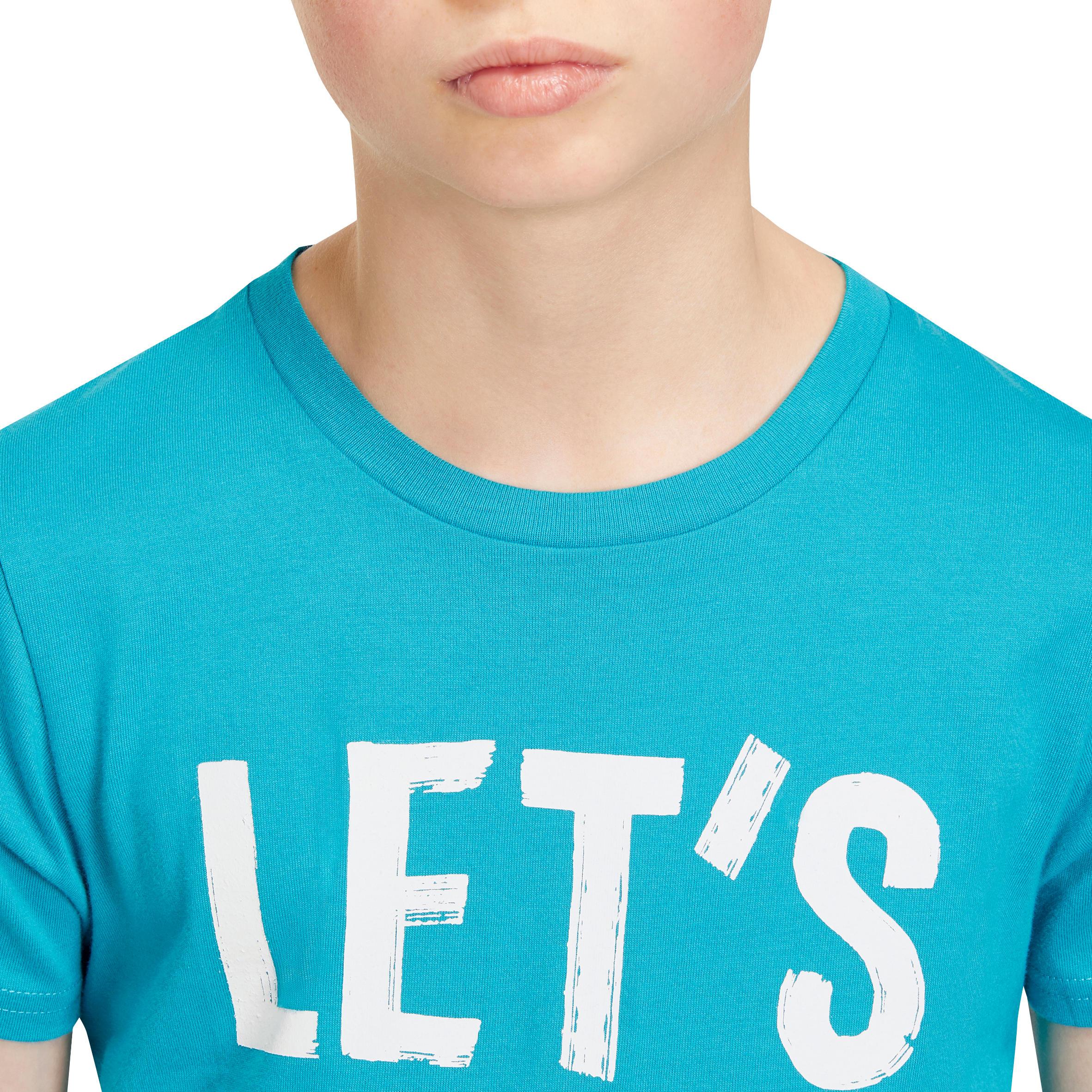 Boys' Short-Sleeved Gym T-Shirt - Petrol Blue Print