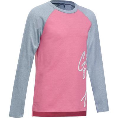 500 Girls' Long-Sleeved Gym T-Shirt - Pink/Grey Print