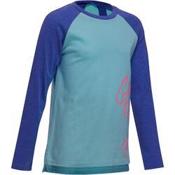 T-Shirt 500 manches longues Gym Fille imprimé bleu