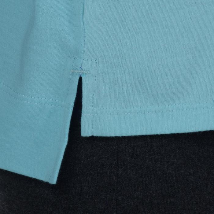 Gymshirt 500 met lange mouwen voor meisjes blauw met opdruk