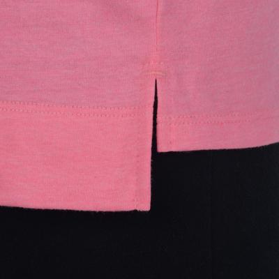 T-Shirt 500 manches longues Gym Fille imprimé rose gris