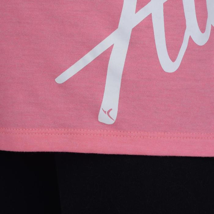 Gymshirt 500 met lange mouwen voor meisjes print roze grijs