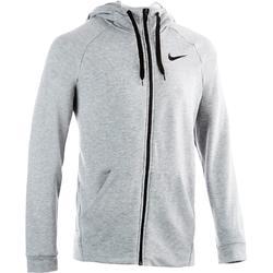 Heren hoodie met rits voor gym en pilates grijs