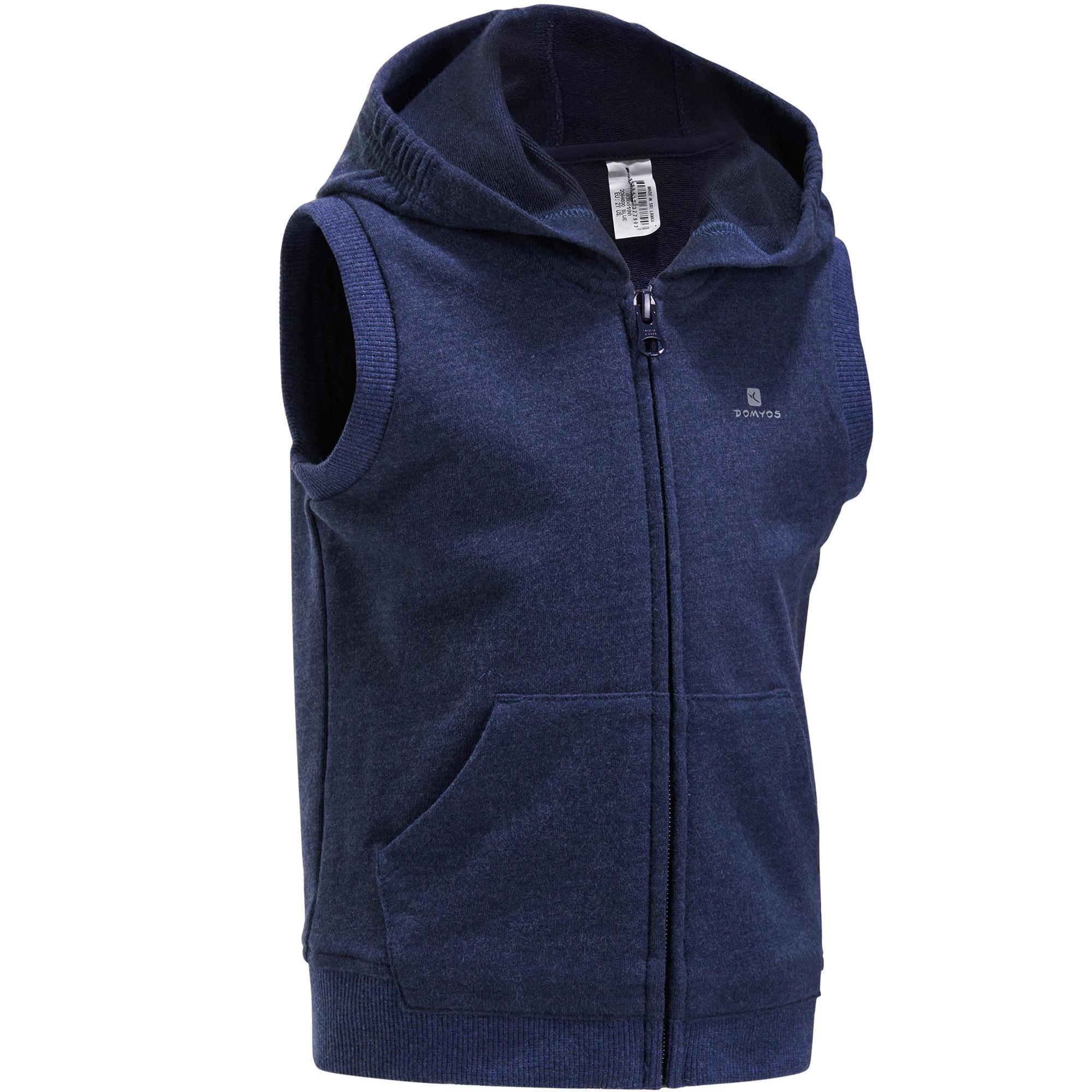 veste chaude sans manches zipp e capuche gym baby bleu domyos by decathlon. Black Bedroom Furniture Sets. Home Design Ideas