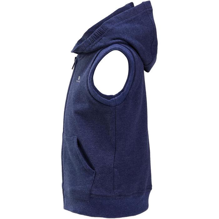 Warm mouwloos gymtruitje met rits en kap baby blauw