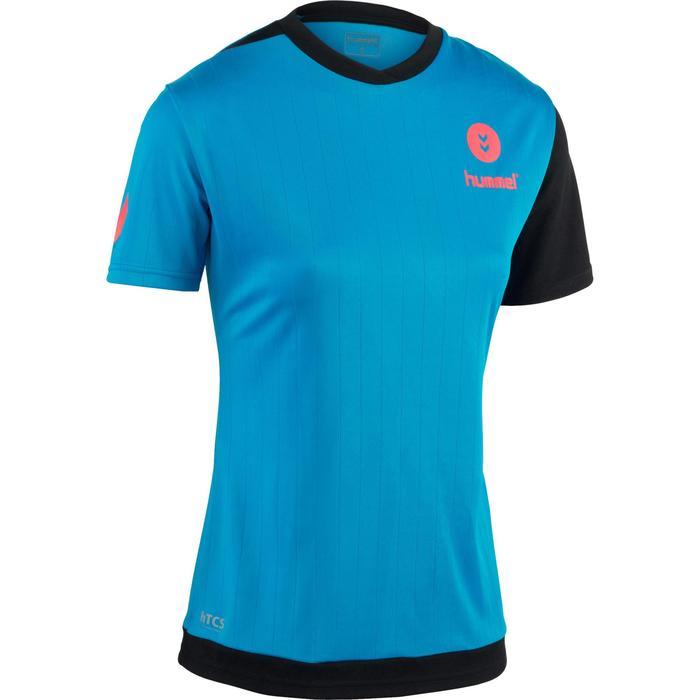 Handbalshirt Hummel Campaign voor dames blauw/zwart + roze chevrons 2017