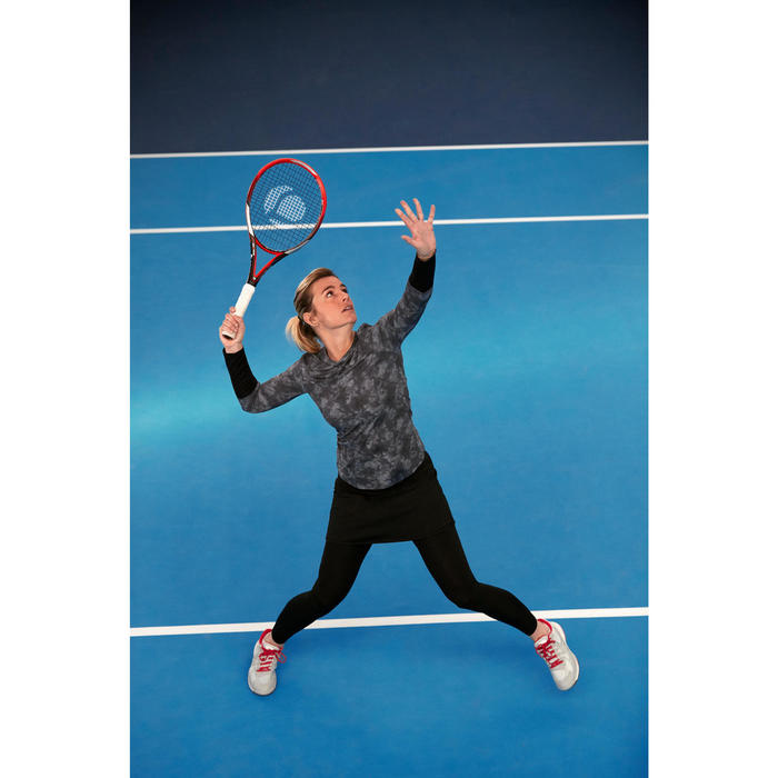Langarmshirt Tennis Essentiel Damen bedruckt schwarz