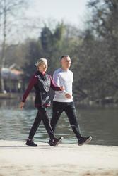 Tenis de caminata deportiva para mujer HW 100 negro / rosa