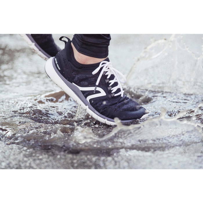 Waterdichte herensneakers voor sportief wandelen PW 580 plasma zwart