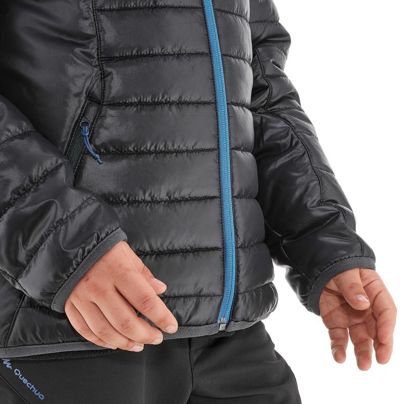 MH500 Boys' Hiking Padded Jacket - Black Blue
