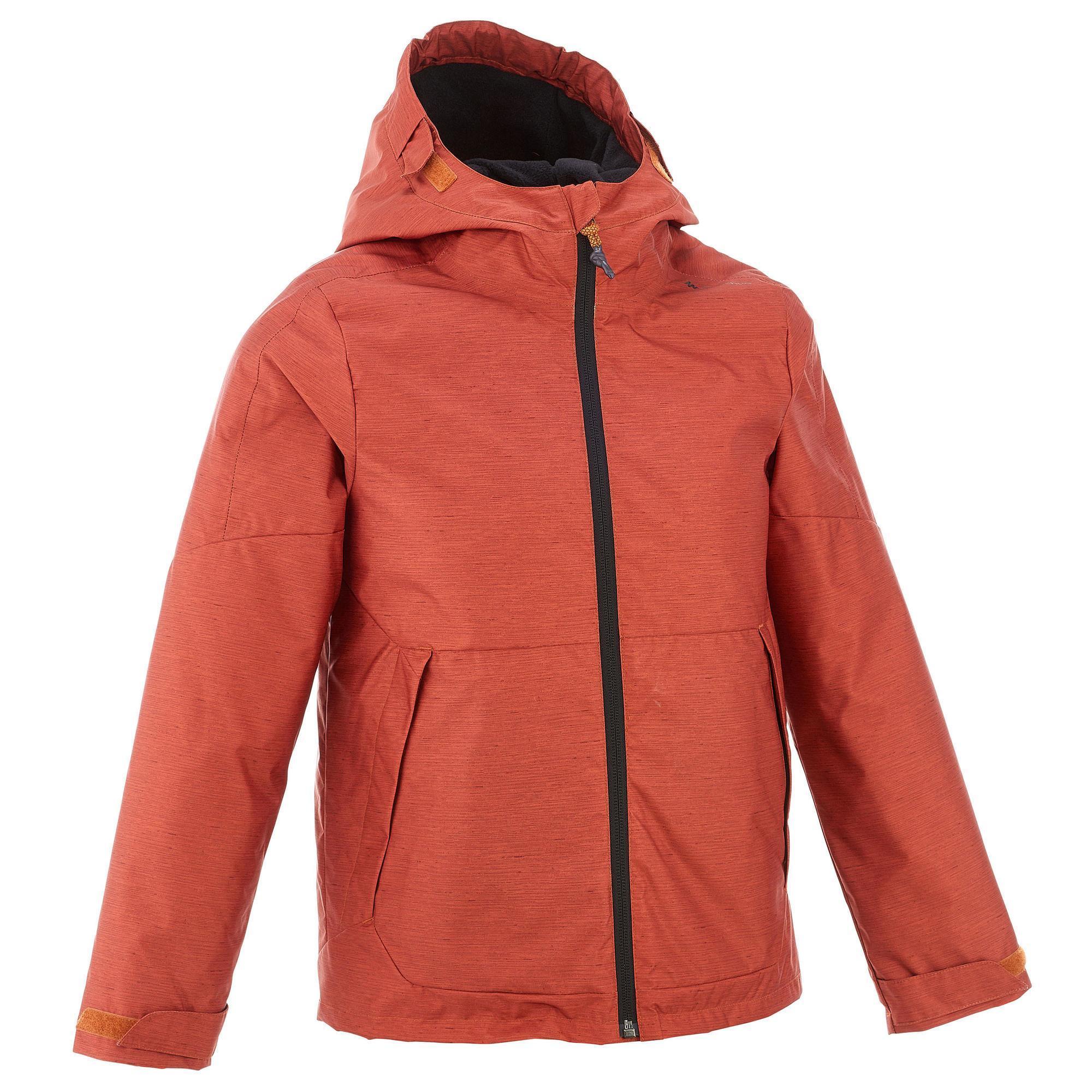 Boys' red Hike 100 warm waterproof hiking jacket
