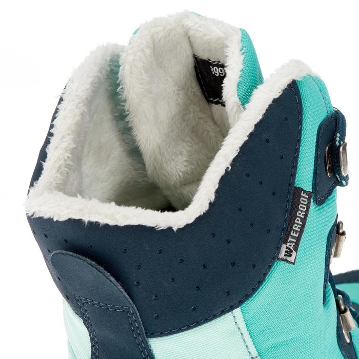 Botas De Senderismo Nieve Júnior SH520 Warm High Verde Agua Impermeable