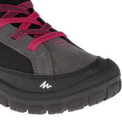 青少年保暖魔鬼氈中筒雪地登山靴SH500-中灰
