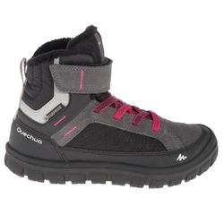 SH500 兒童保暖防水雪地健行運動魔鬼氈式運動鞋 - 深色