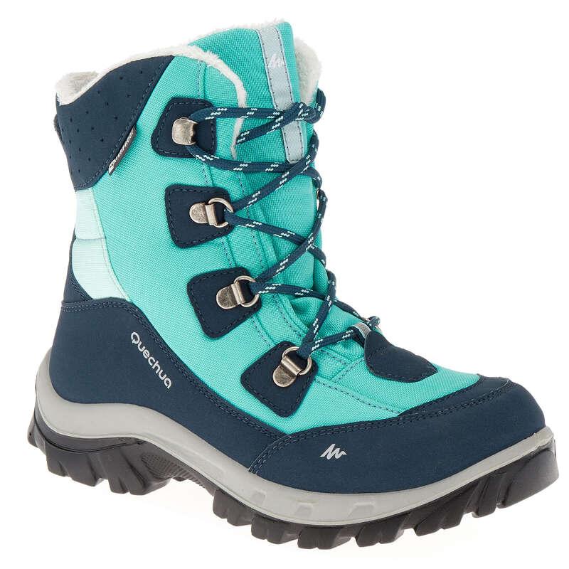 CHILDREN SNOW HIKING WARM SHOES & BOOTS Hiking - SH520 Warm JR High Boots -Aqua QUECHUA - Outdoor Shoes