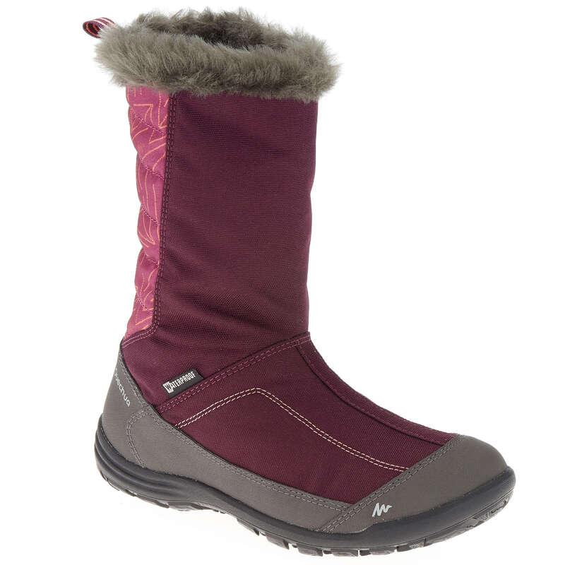 CHILDREN SNOW HIKING WARM SHOES & BOOTS - SH500 JR WARM BOOTS - PURPLE QUECHUA