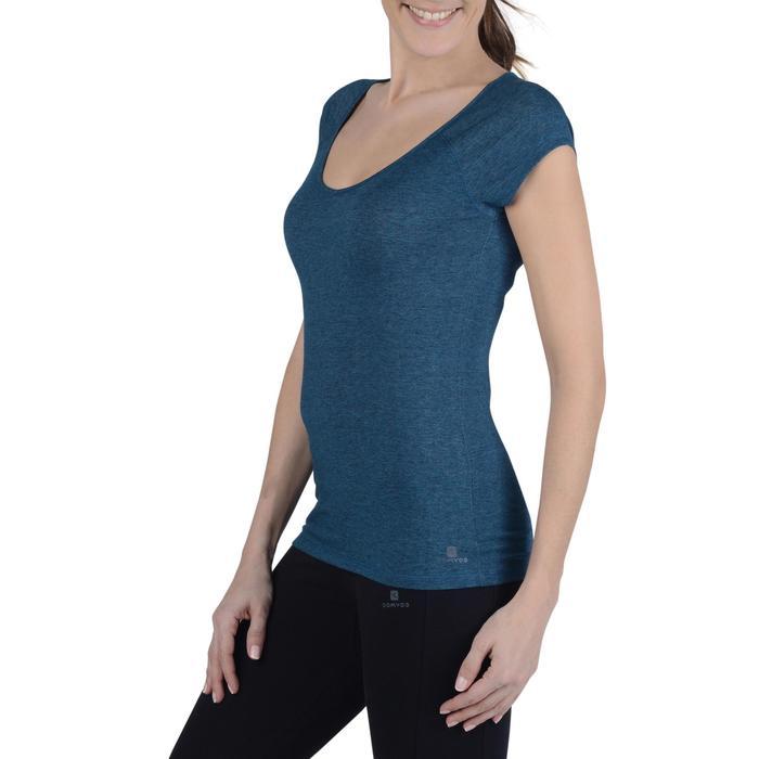 Camiseta de manga corta de gimnasia y pilates mujer azulón jaspeado