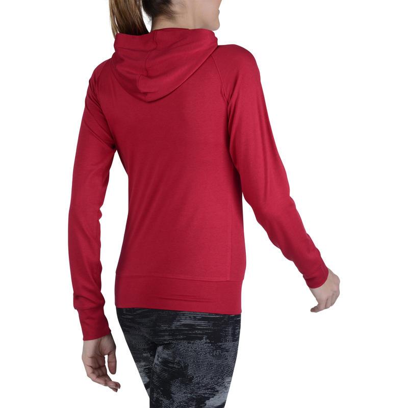 Women's Gym & Pilates Zip-Up Hooded Jacket - Dark Red