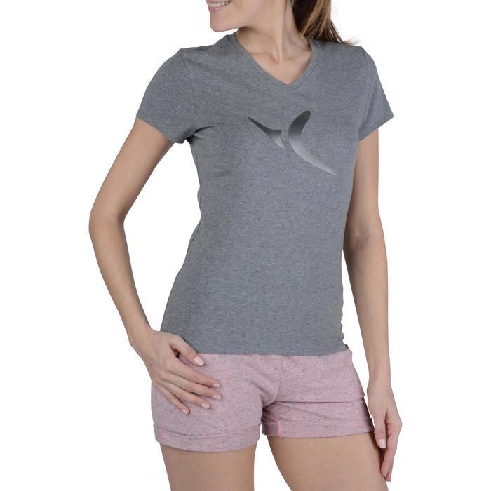 Dames T-shirt met korte mouwen voor gym en pilates gemêleerd - 1193377