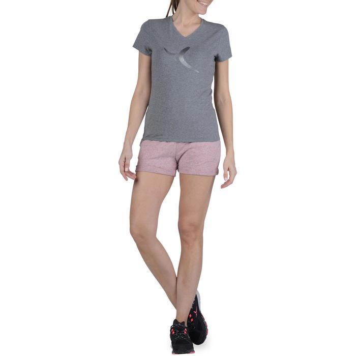 Dames T-shirt met korte mouwen voor gym en pilates gemêleerd - 1193409