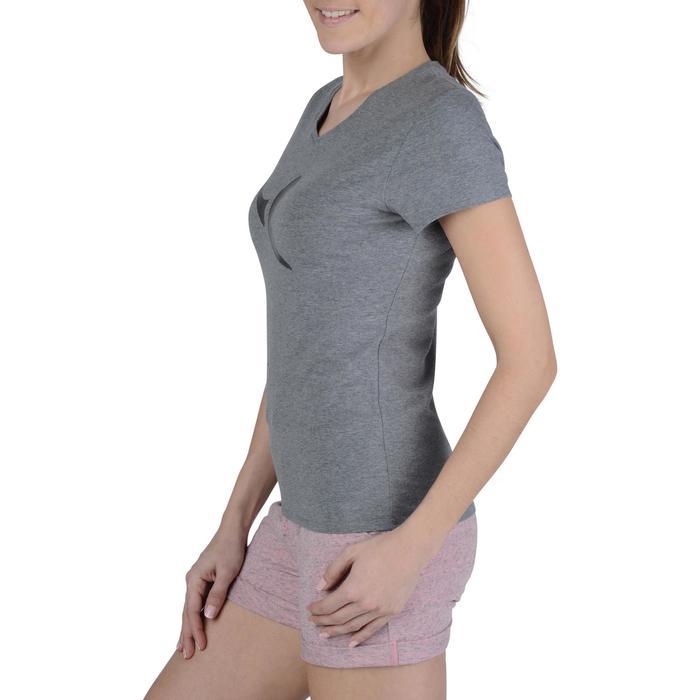 Dames T-shirt met korte mouwen voor gym en pilates gemêleerd - 1193435