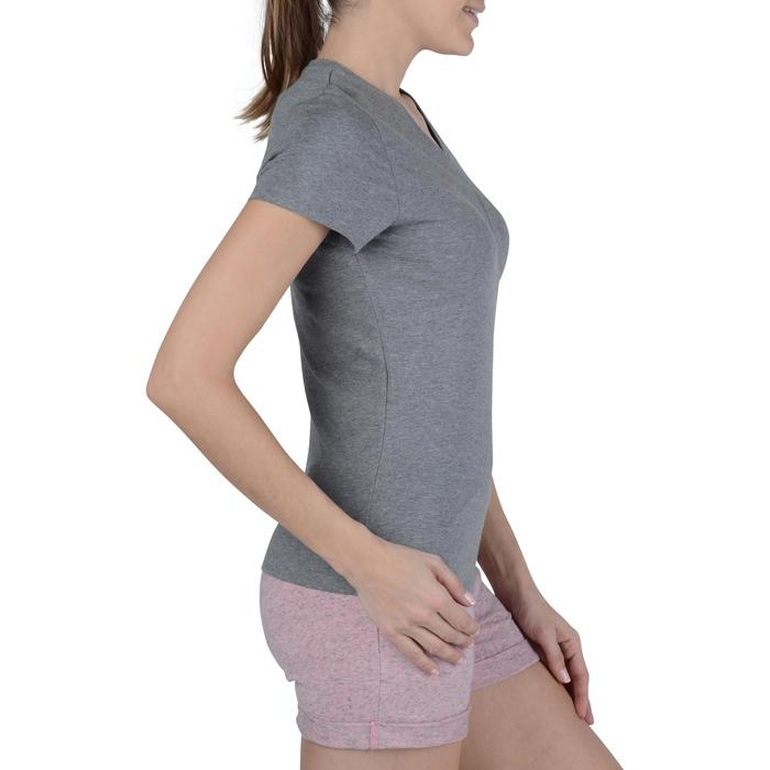 Dames T-shirt met korte mouwen voor gym en pilates gemêleerd - 1193483