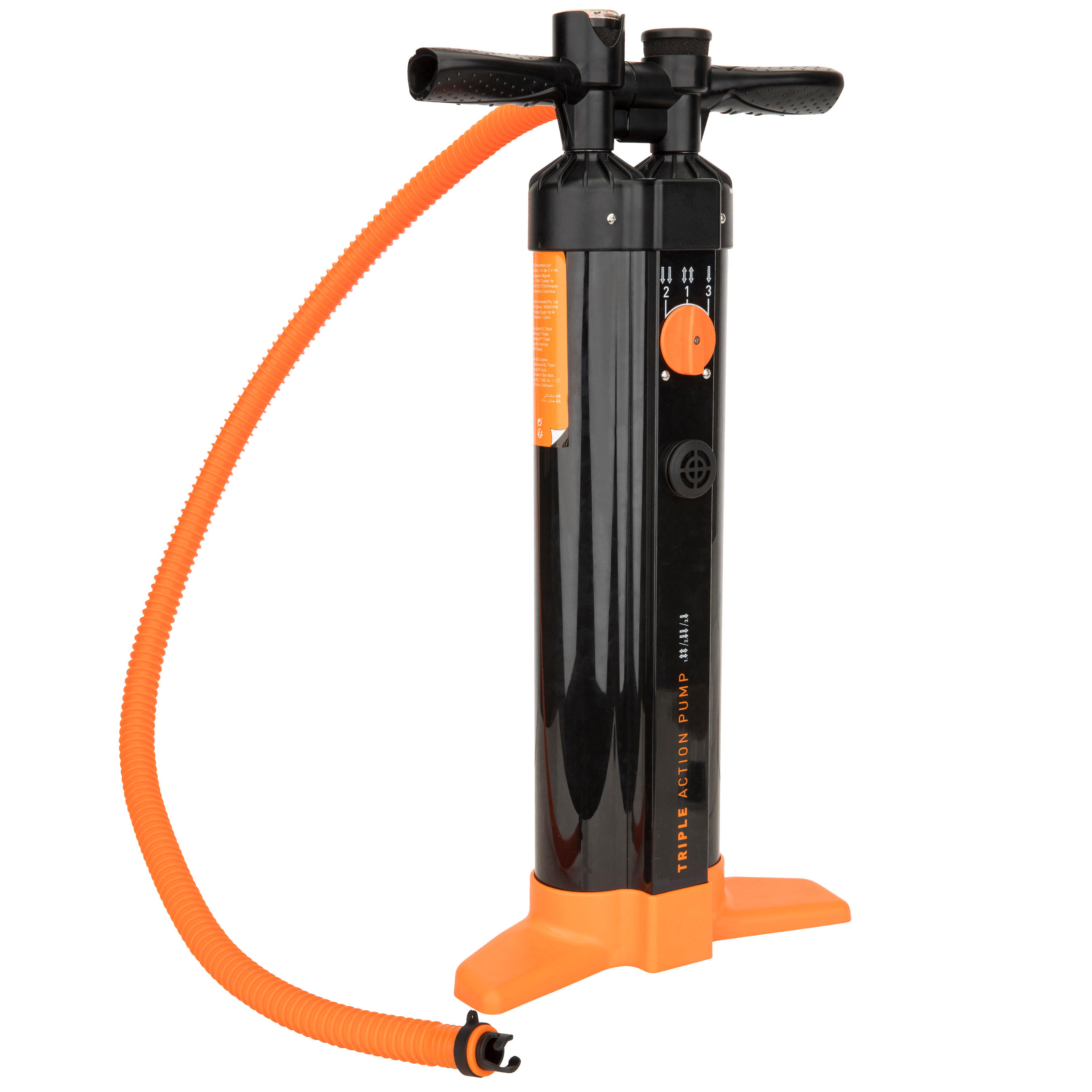 Triple Action High-Pressure Stand Up Paddle Hand Pump 20 psi - Black Orange