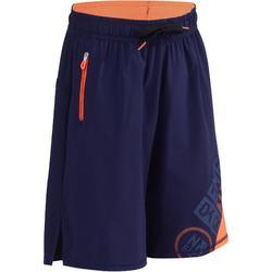 Gymshort W900 jongens marineblauw oranje met print